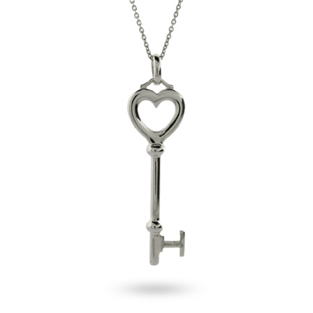 Tiffany Inspired Sterling Silver Heart Key Pendant