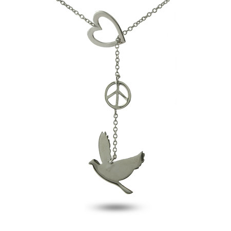Sterling Silver Peace Dove Lariat