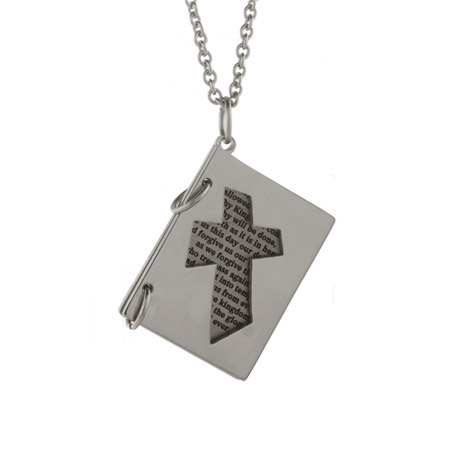 The Lords Prayer Engravable Booklet Pendant