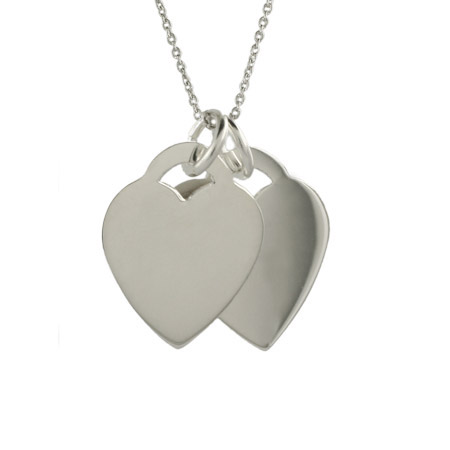 Tiffany Inspired Engravable Double Hearts Pendant
