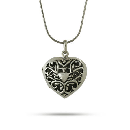 Sterling Silver Bali Style Filigree Heart Locket