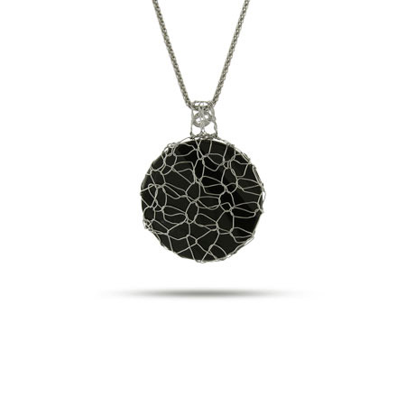Round Onyx Pendant Wrapped in Sterling Silver