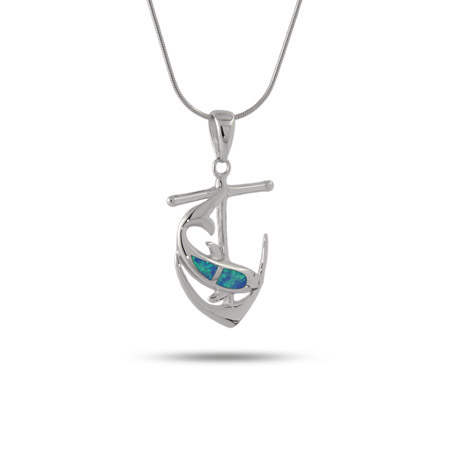 Sterling Silver Anchor Pendant with Silver Opal Dolphin