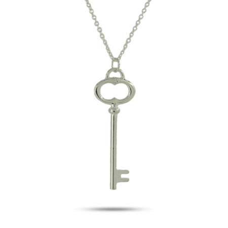 Tiffany Inspired Sterling Silver Oval Key Pendant