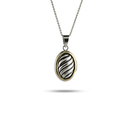 Designer Inspired Cable Locket with Gold Border