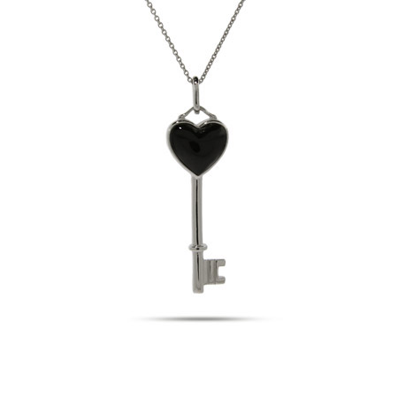 Tiffany Style Sterling Silver Onyx Heart Key Pendant