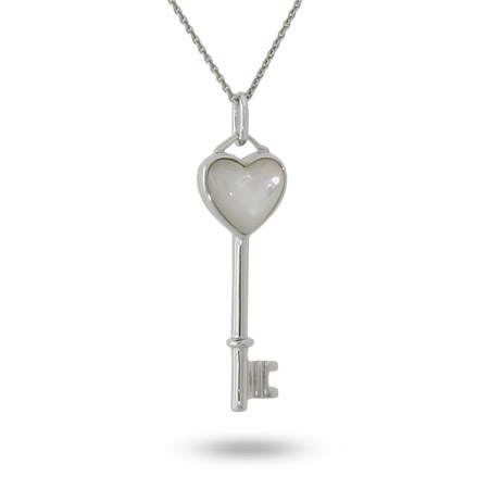 Sterling Silver Mother of Pearl Tiffany Style Key Pendant