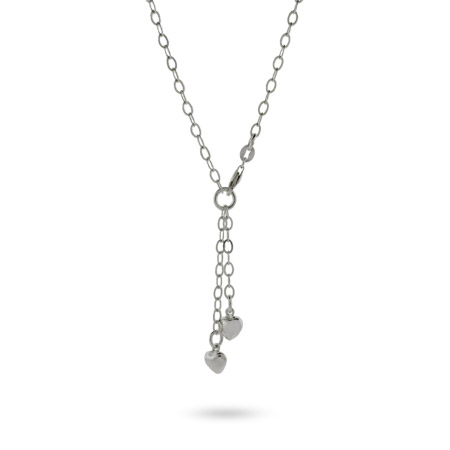 Tiffany Inspired Sterling Silver Oval Link Chain with Double Dangle Hearts