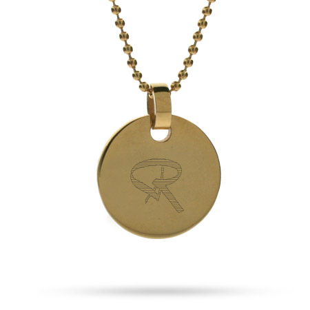 Bailey Style Initial 18K Gold Plated Stainless Steel Small Round Tag Pendant