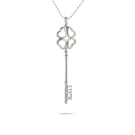 Tiffany Inspired Sterling Silver Luck Key Pendant