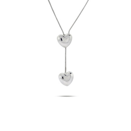 Sterling Silver Puffed Heart Lariat