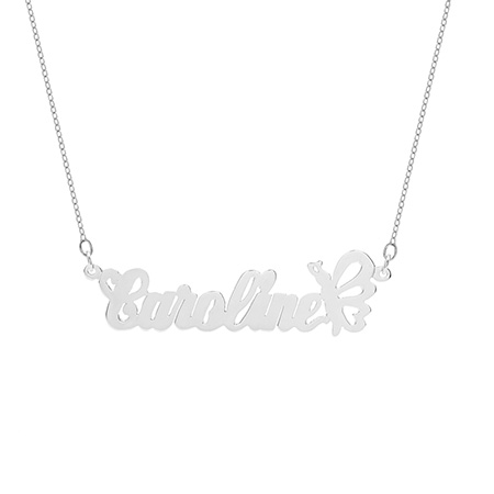 Butterfly Design Sterling Silver Custom Name Necklace