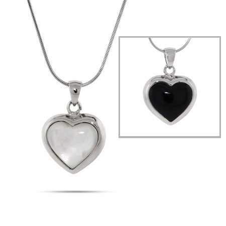 Reversible Black Onyx and Mother of Pearl Heart Pendant