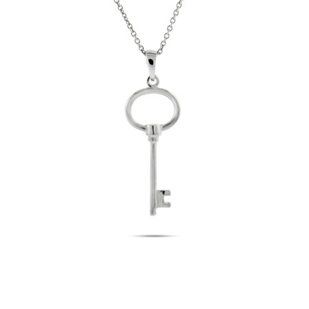 Tiffany Inspired Sterling Silver Petite Oval Key Pendant
