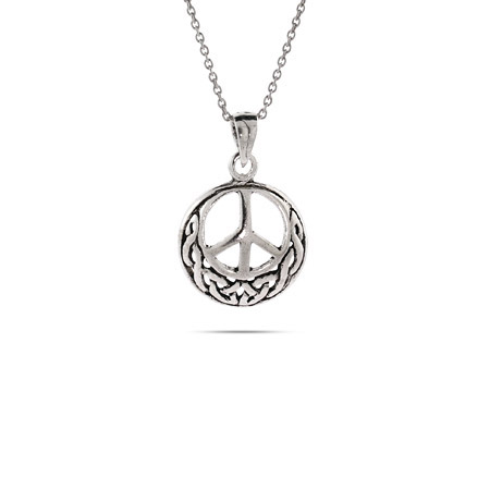 Sterling Silver Celtic Peace Sign Pendant