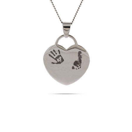 Engravable Baby Handprint and Footprint Heart Pendant