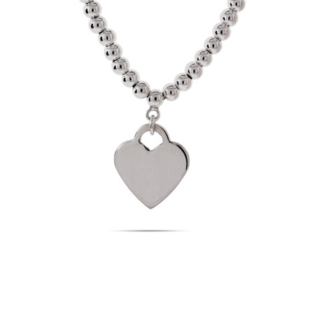 Tiffany Inspired Sterling Silver Beaded Heart Tag Necklace