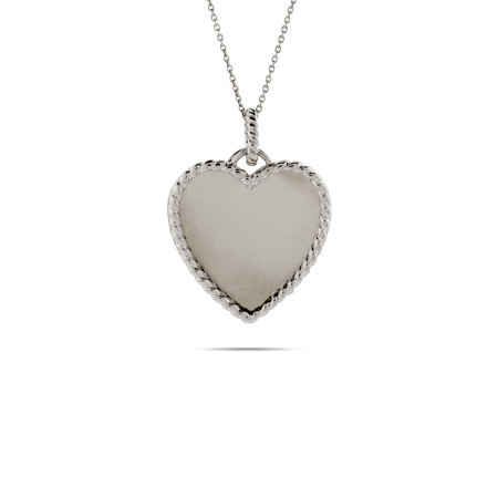 Sterling Silver Engravable Heart Pendant with Cable Border