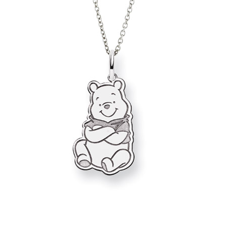 Sterling Silver Winnie the Pooh Pendant - Officially Licensed Disney Jewelry