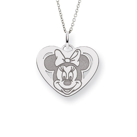Sterling Silver Minnie Mouse Heart Charm Pendant - Officially Licensed Disney Jewelry