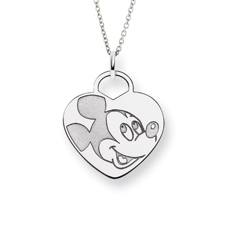 Sterling Silver Mickey Mouse Pendant - Officially Licensed Disney Jewelry
