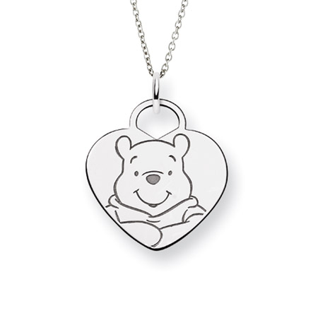 Sterling Silver Winnie The Pooh Heart Pendant - Officially Licensed Disney Jewelry