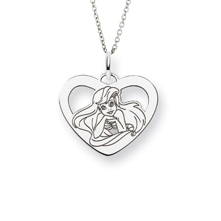 Sterling Silver The Little Mermaid Ariel Pendant - Officially Licensed Disney Princess