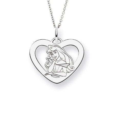 Sterling Silver Sleeping Beauty Aurora Pendant - Officially Licensed Disney Princess Jewelry