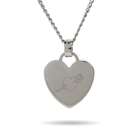 Heart With Rose Engravable Heart Tag Pendant