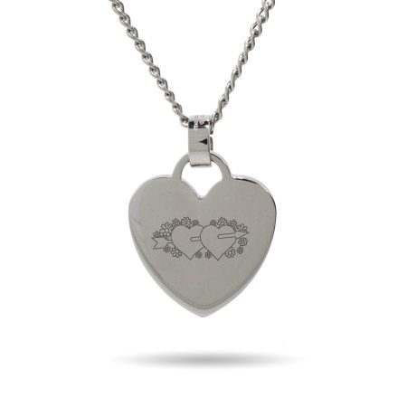 Two Hearts Engravable Heart Tag Pendant