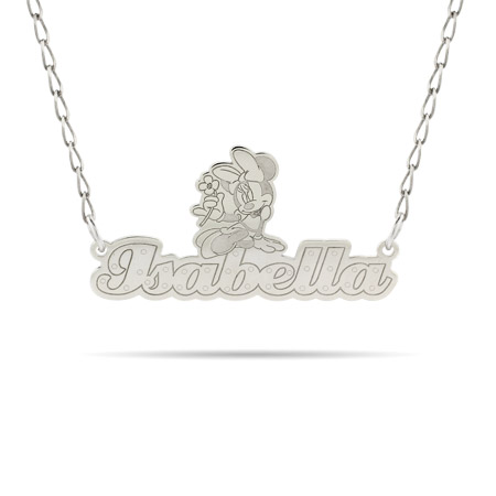Sterling Silver Minnie Mouse Nameplate Necklace - Officially Licensed Disney Jewelry