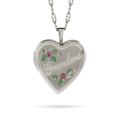 Sterling Silver Engravable Grandma Heart Photo Locket with Flowers