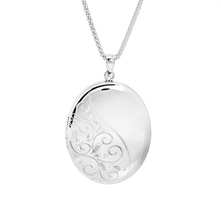 Large Oval Engravable Vintage Style Sterling Silver Photo Locket