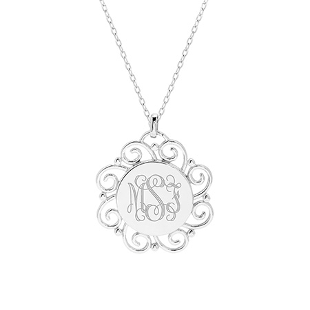 Vintage Scroll Design Engravable Sterling Silver Monogram Pendant