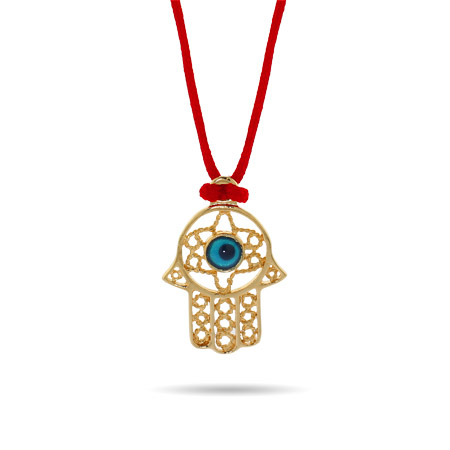 Gold Vermeil Hamsa with Evil Eye Pendant on Lucky Red Cord