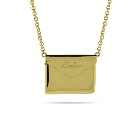 Engravable Gold Vermeil Secret Message Envelope Locket