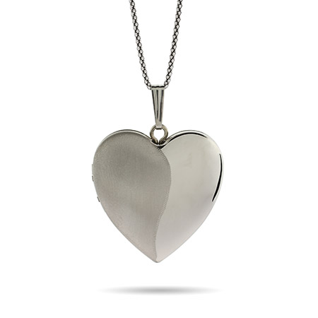 Engravable Sterling Silver Brushed Heart Four Photo Locket