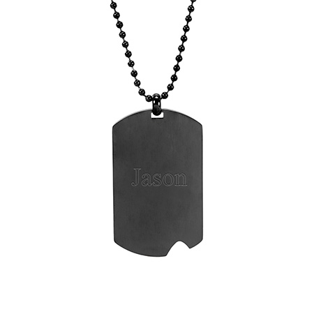 Engravable Black Plate Stainless Steel Dog Tag with Notch
