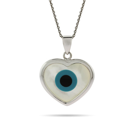 Sterling Silver Evil Eye Heart Pendant