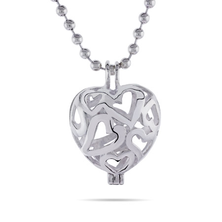 Sterling Silver Filigree Heart Locket on Bead Chain