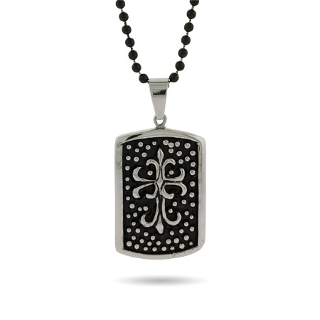 Engravable Fleur de Lis Cross Dog Tag Pendant