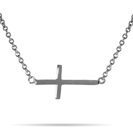 Sterling Silver Simple Sideways Cross Necklace