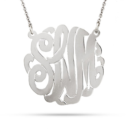 Sterling Silver Medium Custom Monogram Necklace