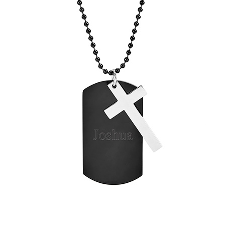 Black Plate Engravable Stainless Steel Dog Tag with Cross