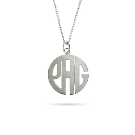 Sterling Silver Small Block Style Monogram Necklace