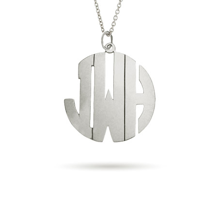 Sterling Silver Medium Block Style Monogram Necklace