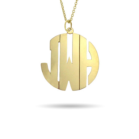 Gold Vermeil Medium Block Style Monogram Necklace