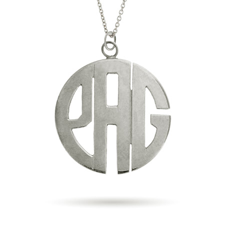Sterling Silver Large Block Style Monogram Necklace