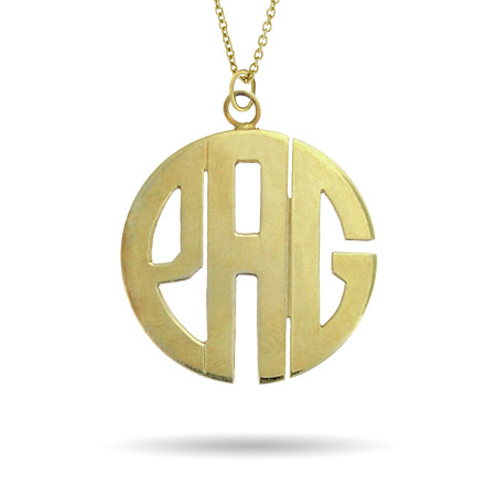 Gold Vermeil Large Block Style Monogram Necklace
