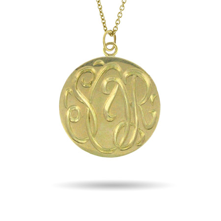 Gold Vermeil Medium Monogram Tag Pendant
